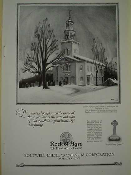 Rock of Ages Boutwell Milne Varnum 1st Congregational Church Dedicated in 1806 Bennington Vt (1926)