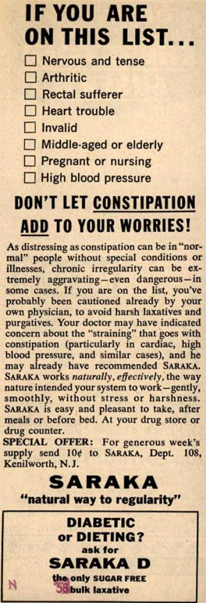 Unknown's Saraka – If you are on this list...don't let Constipation Add to your worries (1958)
