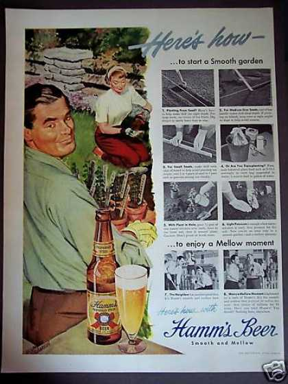 Couple Gardening Art Hamm's Beer Retro (1949)