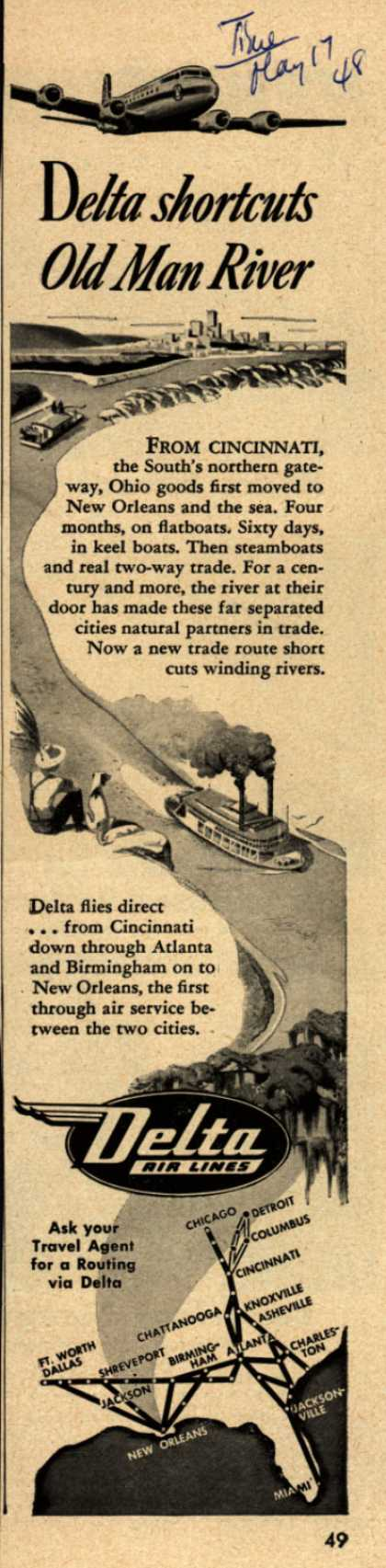 Delta Airline's Delta Air Lines – Delta shortcuts Old Man River (1948)