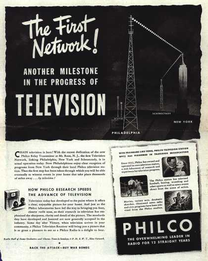 Philco's Network – The First Network! ANOTHER MILESTONE IN THE PROGRESS OF TELEVISION (1944)
