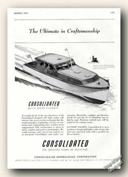 Consolidated Sedan Playboat Boat Advertising (1947)