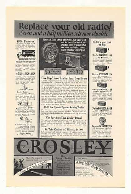 Crosley Gembox Showbox Jewelbox Bandbox Radio (1928)