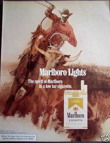 Marlboro Lights Cigarettes Cowboy Roping Cattle (1972)