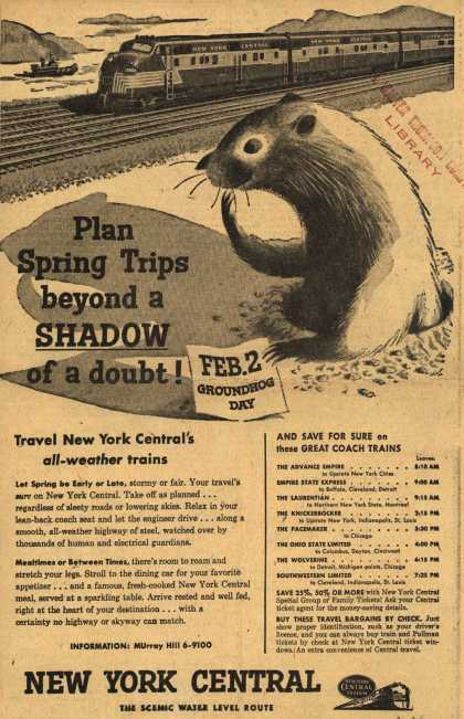 New York Central System's all weather trains – Plan Spring Trips beyond a Shadow of a doubt (1954)