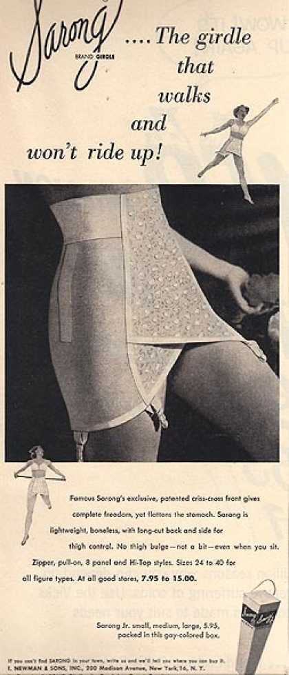 Sarong's Girdles with the exclusive, patented criss-cross front (1953)
