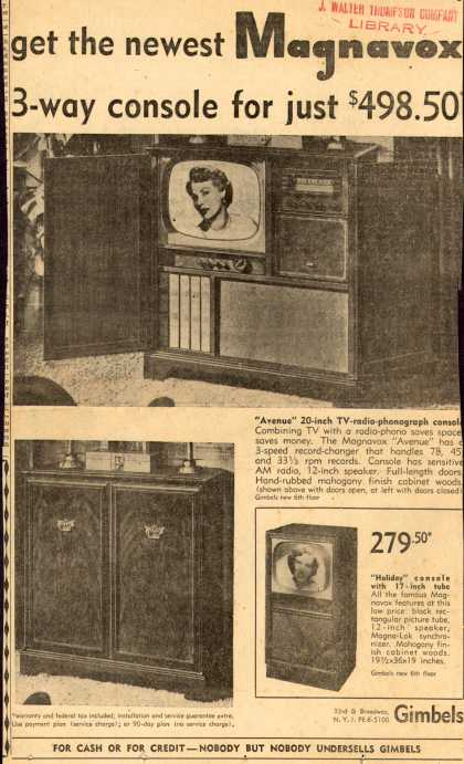 Magnavox Company's TV-Radio-Phonograph – Get the newest Magnavox 3-way console for just $498.50 (1952)