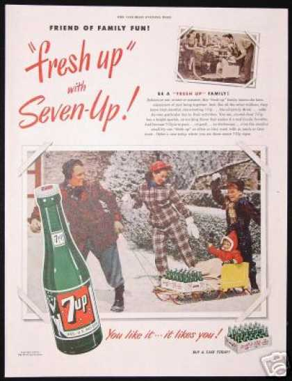 Snow Sled Family Photo 7-up 7up Vintage (1950)