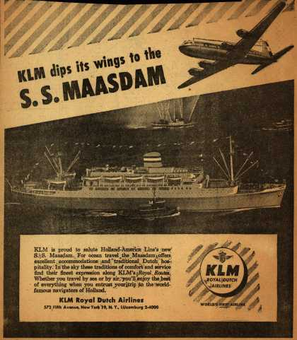 KLM Royal Dutch Airline's S.S. Maasdam of the Holland-America Line – KLM dips its wings to the S.S. Maasdam (1952)