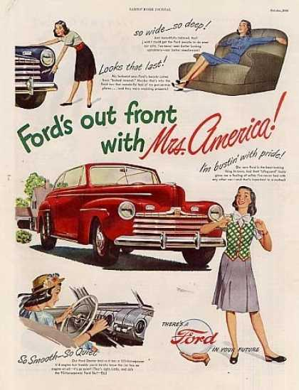 "Ford Car Ad ""Out Front With Mrs. America... (1947)"