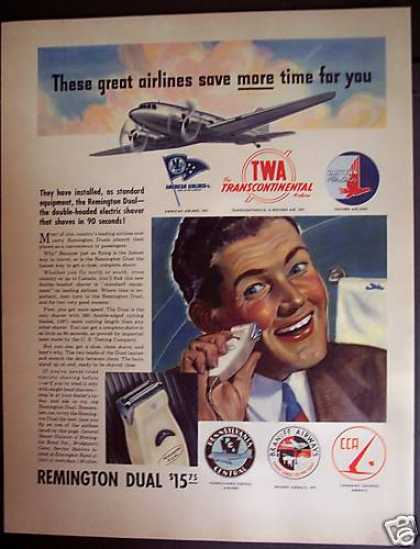Remington Electric Dual Shaver On Twa Airline (1941)
