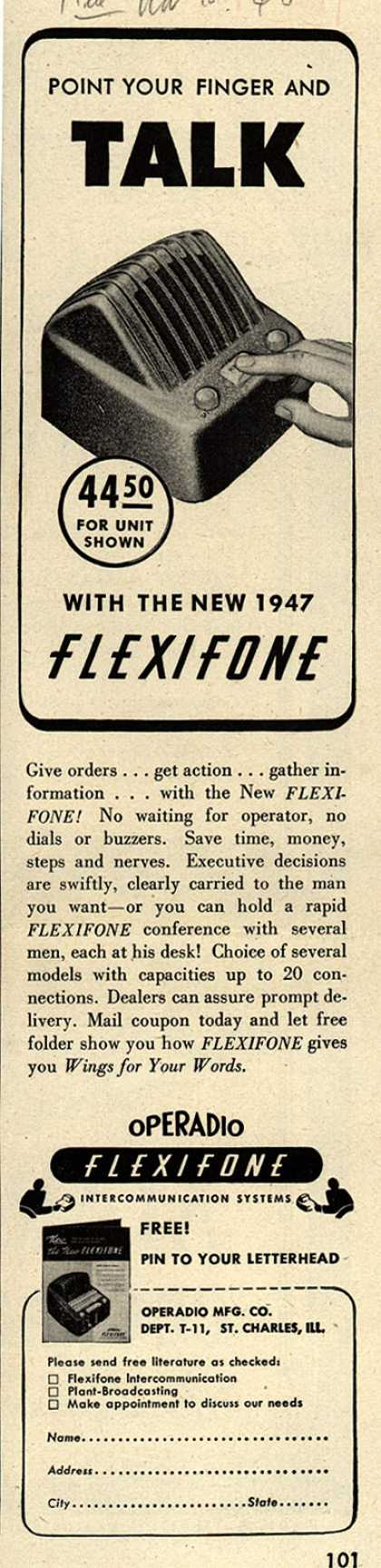 Operadio Manufacturing Company's Intercoms – Point Your Finger and Talk With the New 1947 Flexifone (1946)