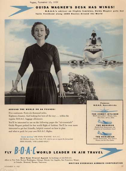 British Overseas Airways Corporation – OUIDA WAGNER'S DESK HAS WINGS (1952)