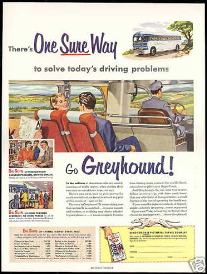 Greyhound Bus Travel Solve Driving Problems (1953)