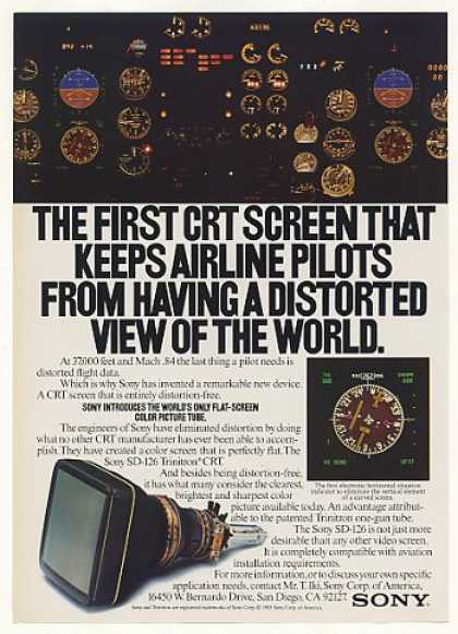 Sony SD-126 Trinitron CRT Airplane Screen (1983)