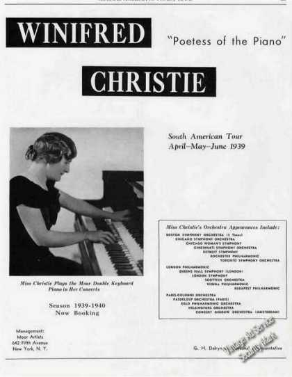 "Winifred Christie ""Poetess of the Piano"" Trade (1939)"
