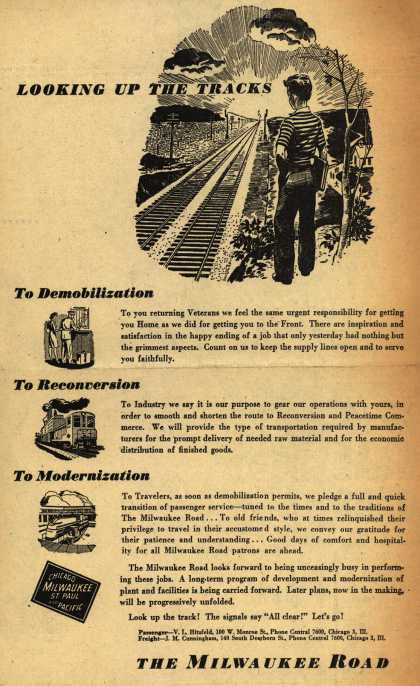 Milwaukee Road – Looking Up The Tracks To Demobilization, To Reconversion, To Modernization (1945)