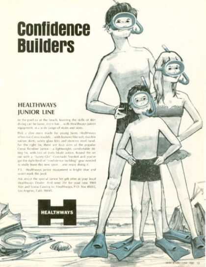 Healthways Junior Line Snorkle Fins Mask (1969)