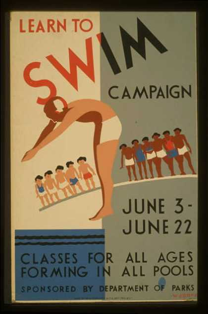 Learn to swim campaign – Classes for all ages forming in all pools / Wagner. (1936)