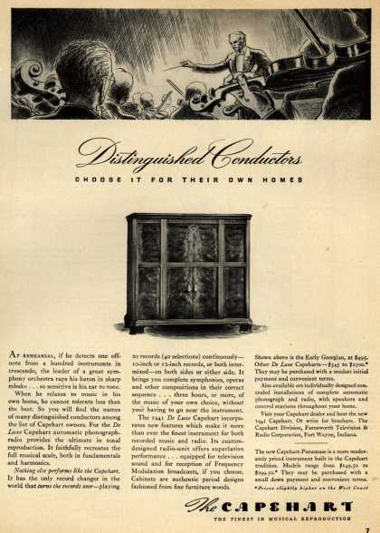 Capehart Corporation's Radio – Distinguished Conductors Choose it for their own homes (1940)