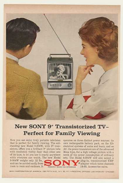 Sony 9&quot; Transistorized TV Model 9-304W (1964)