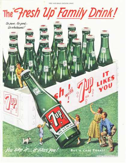 Seven 7 Up Bottle Case Carton Print (1949)