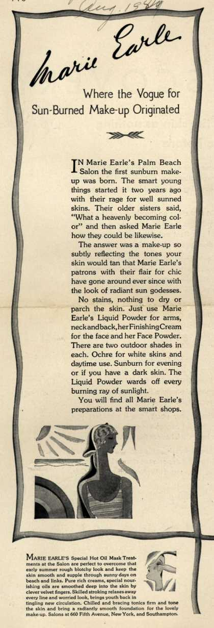 Marie Earle's sunburn make-up – Marie Earle Where the Vogue for Sun-Burned Make-up Originated (1929)