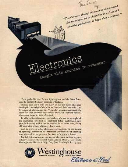 Westinghouse Electric & Manufacturing Company's Electronics – Electronics Taught This Machine To Remember (1944)