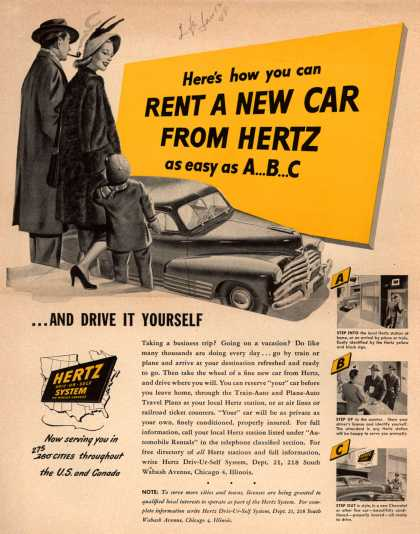 Hertz Driv-Ur-Self System's Hertz – Here's how you can Rent A New Car From Hertz as easy as A...B...C (1948)