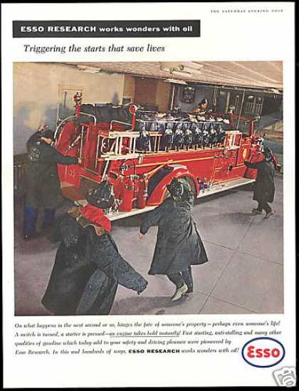 Firemen Fire Engine Truck Photo Esso Gas Oil (1957)