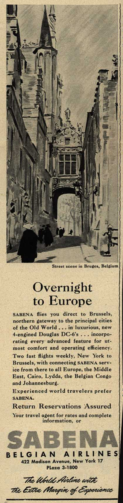 Sabena Belgian Airline's Europe – Overnight to Europe (1948)