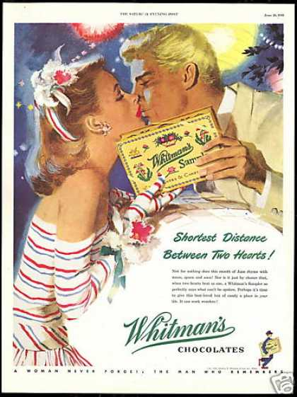 Whitman's Chocolate Vintage Art Couple Kissing (1948)