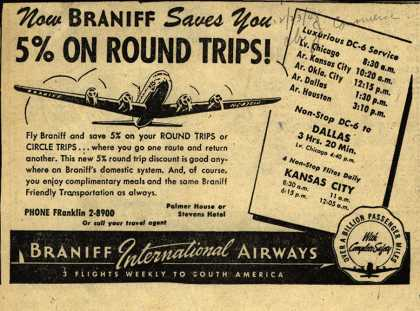 Braniff International Airway's round trip savings – Now Braniff Saves You 5% on Round Trips (1948)