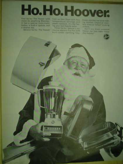 Hoover appliances. Ho Ho Hoover Christmas Santa theme (1969)