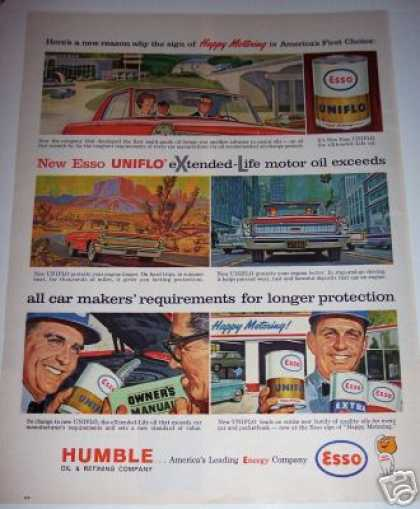 Humble Esso Uniflo Oil Car Service Ad Xl (1963)