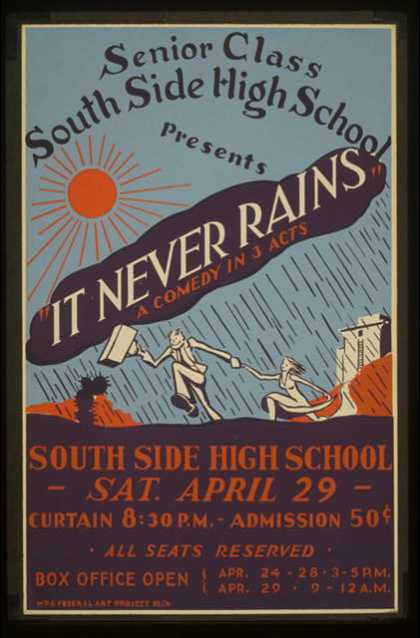 "South Side High School senior class presents ""It never rains"" a comedy in 3 acts. (1936)"