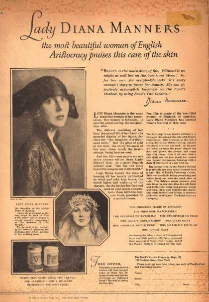Pond's Extract Co.'s Pond's Cold Cream and Vanishing Cream – Lady Diana Manners, the most beautiful woman of English Aristocracy praises this care of the skin (1924)