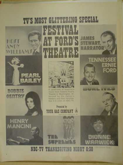 Festival at Ford's Theatre. Andy Williams, James Stewart, Pearl Bailey, Tennessee Ernie Ford, Bobby Gentry, Henry Mancini, Dionne Warwick, The Supreme (1970)