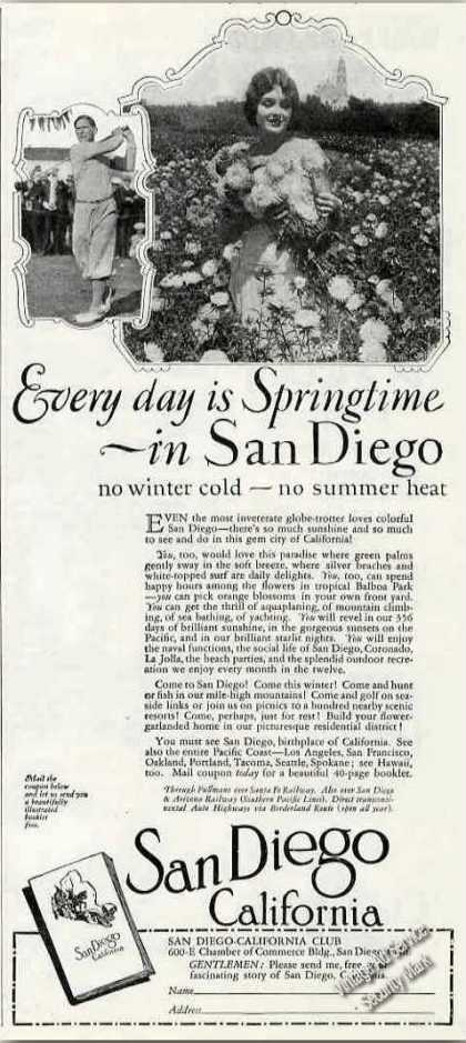 """Every Day Is Springtime In San Diego"" Antique (1927)"