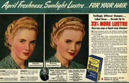 Procter & Gamble Co.'s Drene Shampoo – April Freshness, Sunlight Lustre... For Your Hair (1941)