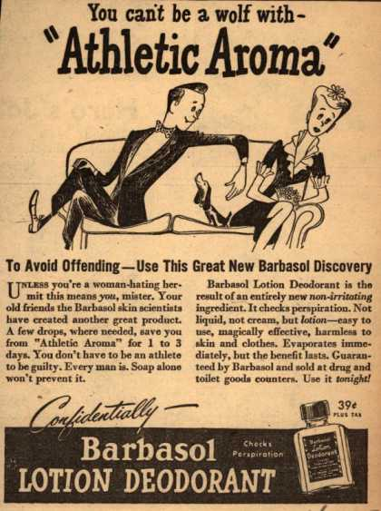 "Barbasol – You can't be a wolf with ""Athletic Aroma"" (1947)"