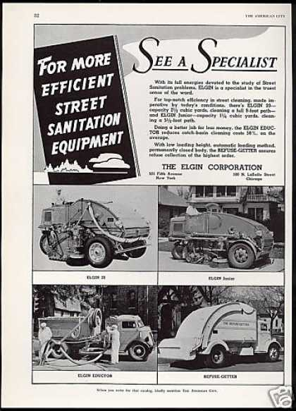 Elgin 4 Photo Street Sanitation Equip Truck (1941)