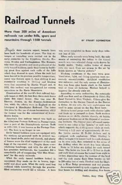 """Railroad Tunnels"" Article (1946)"
