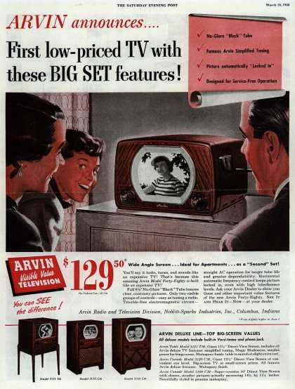 Noblitt-Sparks Industrie's various – Arvin announces... First low-priced TV with these Big Set features (1950)