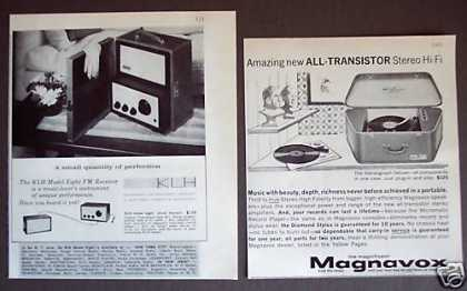 Magnavox Transistor Stereo &amp; Klh Radio 2 Print Ads (1962)