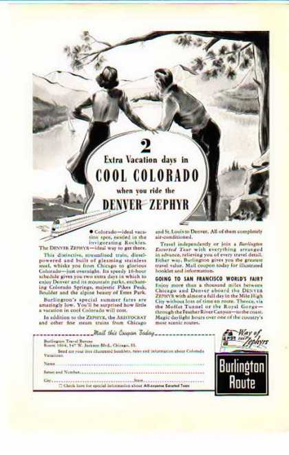 Denver Zephyr Train – Burlington Route – Colorado – Sold (1939)