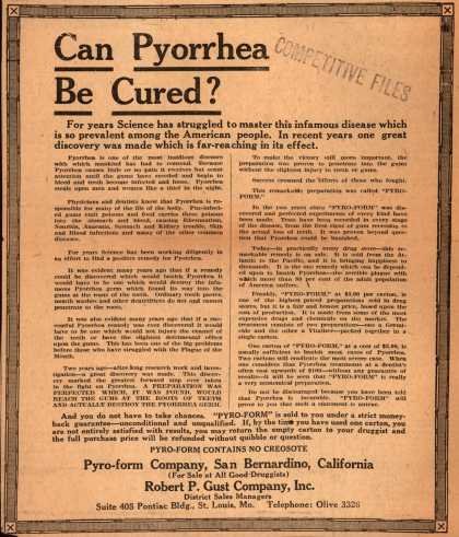 Pyro-form Co., Robert P. Gust Co.'s Pyro-form – Can Pyorrhea Be Cured? (1923)