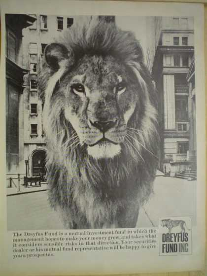 Dreyfus Fund Inc Lion theme Mutual fund make your money grow (1968)
