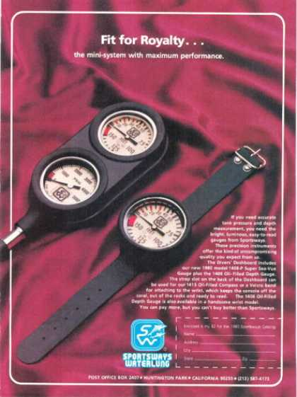 Sportsways Waterlung Pressure Depth Gauges (1980)