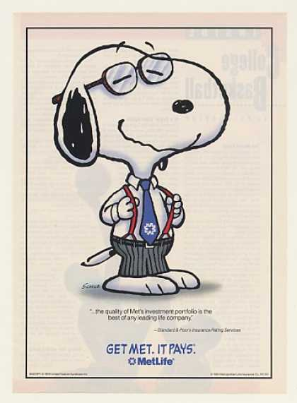 Peanuts Snoopy Wearing Tie Met Life Insurance (1991)